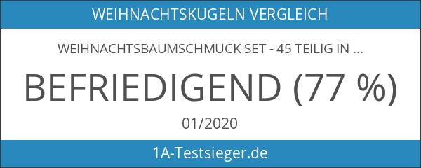 Weihnachtsbaumschmuck Set - 45 teilig in Metalltönen - 36 Kugeln
