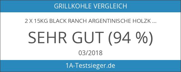 2 x 15kg BLACK RANCH argentinische Holzkohle quebracho Blanco Grillkohle