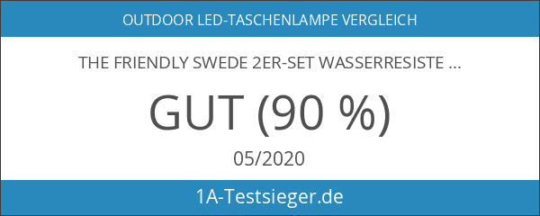 The Friendly Swede 2er-Set Wasserresistente Solar-LED-Taschenlampe Handkurbel-Taschenlampe