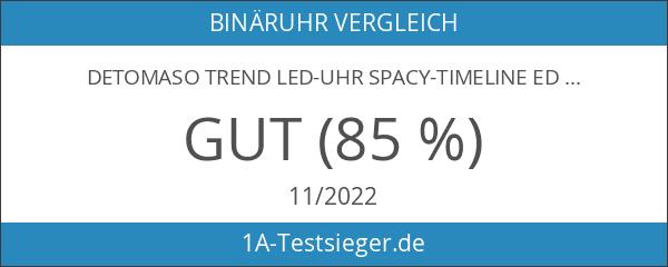 DeTomaso Trend LED-Uhr Spacy-Timeline Edelstahlarmband Schwarz G-30723B