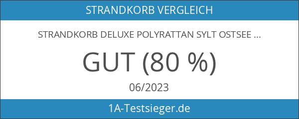 Strandkorb Deluxe Polyrattan Sylt Ostsee Volllieger inkl. 4x Kissen XL120cm