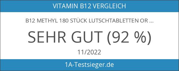 B12 Methyl 180 Stück Lutschtabletten Orangengeschmack mit 1000mcg Methylcobalamin pro