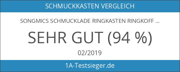 Songmics Schmucklade Ringkasten Ringkoffer Schwarz für ca.100 Ringe JDS301