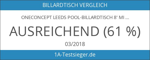 oneConcept Leeds Pool-Billardtisch 8' mit Zubehör Set rot-braun