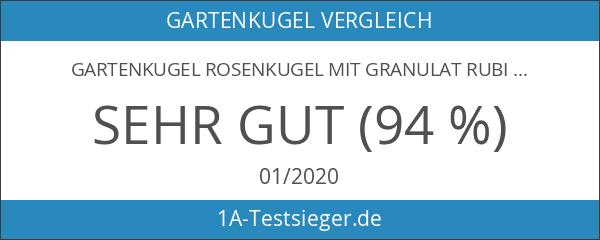 Gartenkugel Rosenkugel mit Granulat rubinrot d 15cm mundgeblasen handgeformt Lauschaer