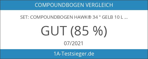 "SET: Compoundbogen Hawk® 34 "" Gelb 10 lbs RH -"