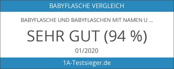 Babyflasche und Babyflaschen mit Namen und Geburtstag des Babys. Geschenk