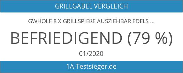 GWHOLE 8 x Grillspieße Ausziehbar Edelstahl mit Holzgriff 31cm-82cm für
