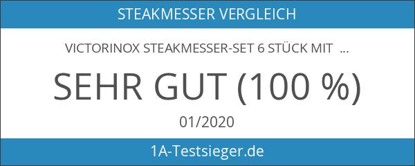 Victorinox Steakmesser-Set 6 Stück mit Wellenschliff schwarz