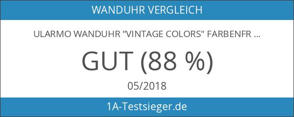 "Ularmo Wanduhr ""Vintage Colors"" Farbenfrohe Glasuhr im modernen Design mit"