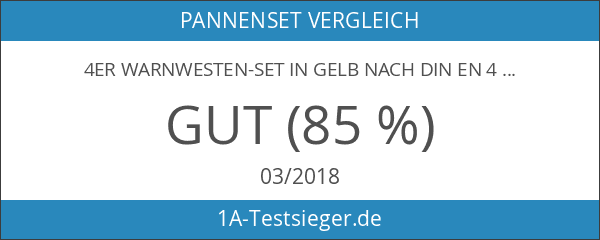 4er Warnwesten-Set in gelb nach DIN EN 471 zertifiziert