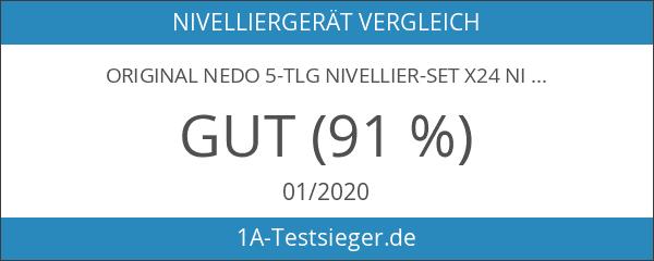 ORIGINAL NEDO 5-TLG NIVELLIER-SET X24 NIVELLIERGERÄT 24-fach ALU-STATIV MESSLATTE X