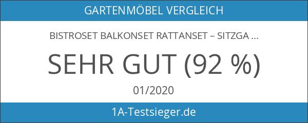Bistroset Balkonset Rattanset – Sitzgarnitur aus Glastisch & Bistrostuhl –