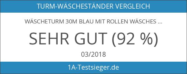Wäscheturm 30m blau mit Rollen Wäscheständer Wäschetrockner für Duschkabine
