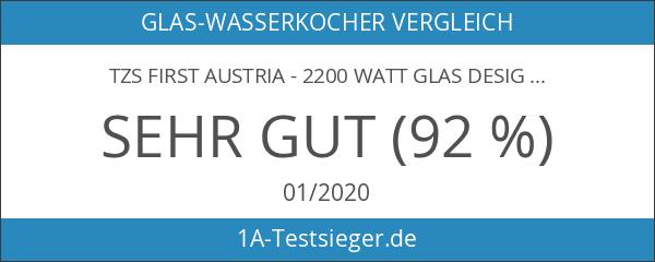 TZS First Austria - 2200 Watt Glas Design Wasserkocher blaue