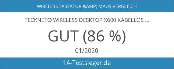 TeckNet® Wireless Desktop X600 Kabellose Deutsche Tastatur und Maus Weiß