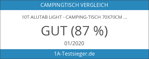10T Alutab Light - Camping-Tisch 70x70cm mit Lamellensystem-Tischplatte Aluminium handliches