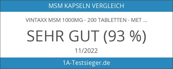 Vintaxx MSM 1000mg - 200 Tabletten - Methylsulfonylmethan - organischer