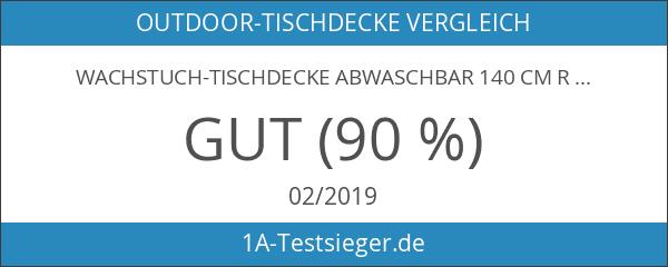 Wachstuch-Tischdecke Abwaschbar 140 cm Rund - PUNKTE GRÜN-WEISS