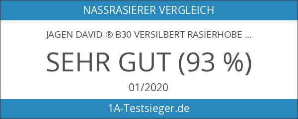 Jagen David ® B30 versilbert Rasierhobel Nassrasierer mit Spiegel Reise-Etui.