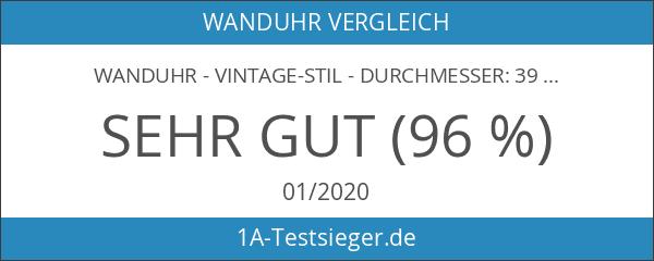 Wanduhr - Vintage-Stil - Durchmesser: 39 cm - Braun