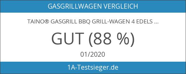 TAINO® Gasgrill BBQ Grill-Wagen 4 Edelstahl-Brenner TÜV Gasbrenner Farbe Schwarz