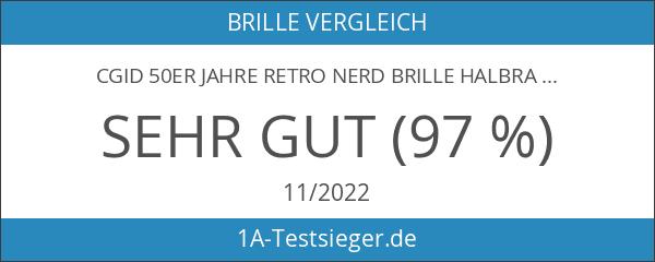 CGID 50er Jahre Retro Nerd Brille Halbrahmen Hornbrille Stil Rockabilly