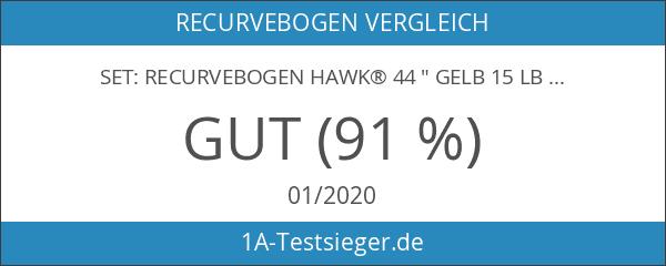 """SET: Recurvebogen Hawk® 44 """" Gelb 15 lbs LH"""
