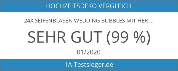 24x Seifenblasen Wedding Bubbles mit Herzgriff für Hochzeiten - Kleenes