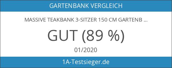 Massive Teakbank 3-Sitzer 150 cm Gartenbank Sitzbank Parkbank Holzbank