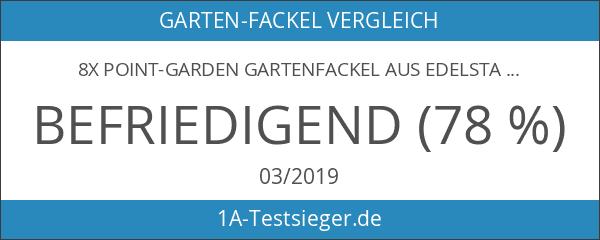 8x point-garden Gartenfackel aus Edelstahl 115 cm
