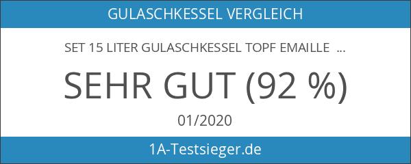 Set 15 Liter Gulaschkessel Topf Emaille Deckel für Kesselgulasch