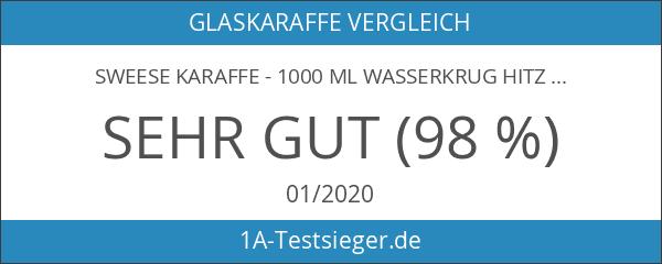 Sweese Karaffe - 1000 ml Wasserkrug Hitzebeständigkeit Wasserkaraffe mit Edelstahl