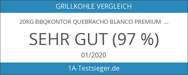 20kg BBQKontor Quebracho blanco Premium Grillkohle Holzkohle in Steakhausqualität