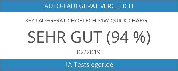 KFZ LadegerätCHOETECH 51W Quick Charge 2.0 Auto USB Schnellladegerät Fast