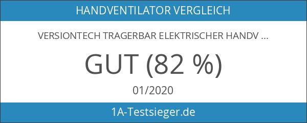 VersionTech Tragerbar Elektrischer Handventilator mit 18650 Akku Zusammenklappbar - Schwarz