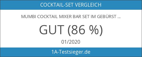 mumbi Cocktail MIXER Bar Set im gebürsteten Edelstahl Design