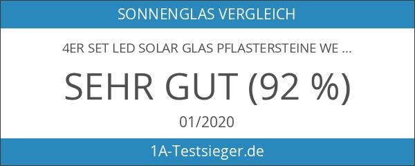 4er Set LED Solar Glas Pflastersteine Wegbeleuchtung groß Lights4fun