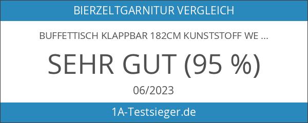 Buffettisch Klappbar 182cm Kunststoff weiss - Campingtisch Gartentisch Bierzeltgarnitur