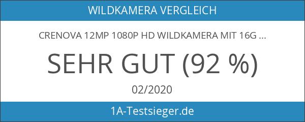 Crenova 12MP 1080P HD Wildkamera mit 16GB SD-Karte 120° Breite