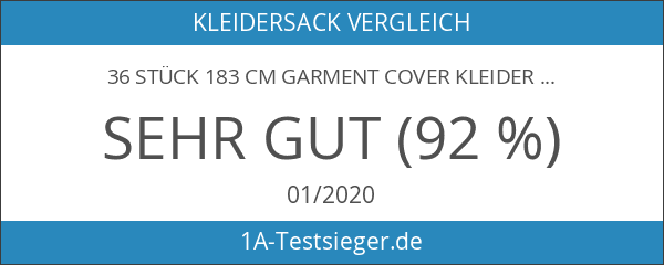 36Stück 183cm Garment Cover Kleidersack mit Secret Innentasche mit Reißverschluss