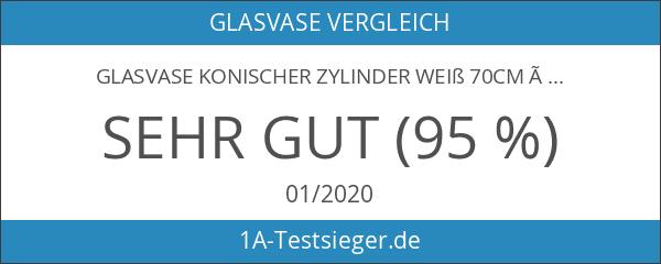 Glasvase konischer Zylinder weiß 70cm Ø 22