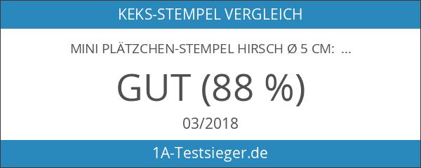 Mini Plätzchen-Stempel Hirsch Ø 5 cm: Holzgriff und Lebensmittelechtes Silikon