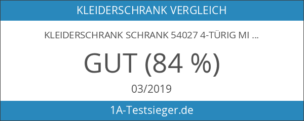 Kleiderschrank Schrank 54027 4-türig mit Spiegel weiß