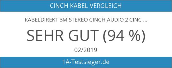 KabelDirekt 3m Stereo Cinch Audio 2 Cinch zu 2 Cinch