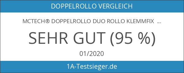 MCTECH® Doppelrollo Duo Rollo Klemmfix ohne Bohren Fenster-Rollo Springrollos mit