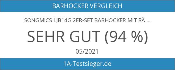 Songmics LJB14G 2er-Set Barhocker mit Rückenlehne höhenverstellbar